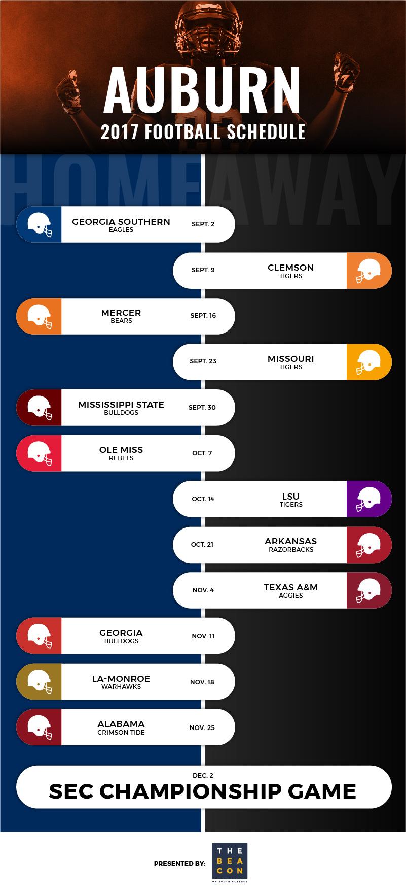 auburn tigers football schedule (infographic)